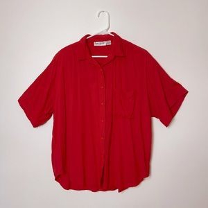 Vintage Red Button Up T-Shirt